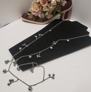 Cookie Lee Long Chain & Pearl Necklace